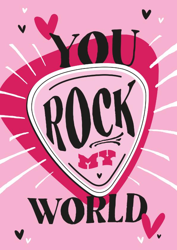 Valentijnskaarten - Valentijnskaart you rock my world stoer muziek hartjes