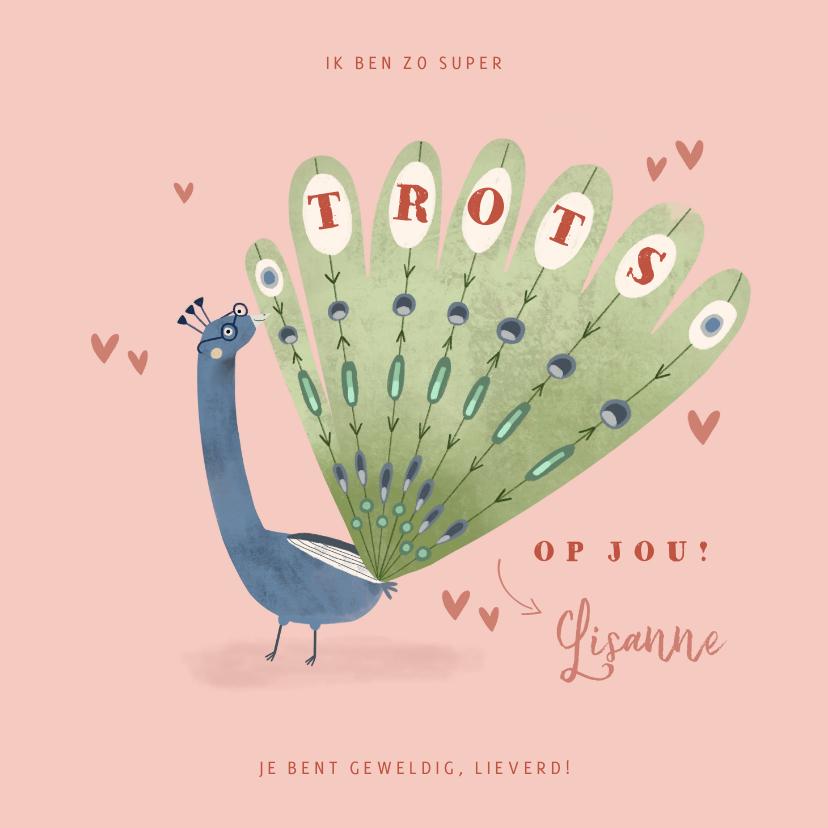Valentijnskaarten - Valentijnskaart zo trots op jou pauw illustratie roze hartje