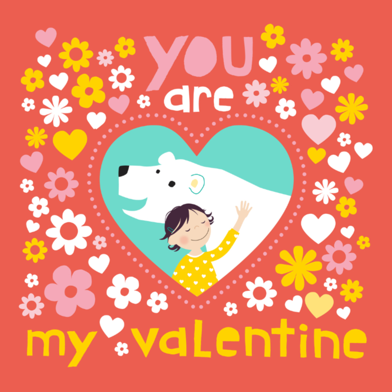 Valentijnskaarten - Valentijnskaartje ijsbeer rood