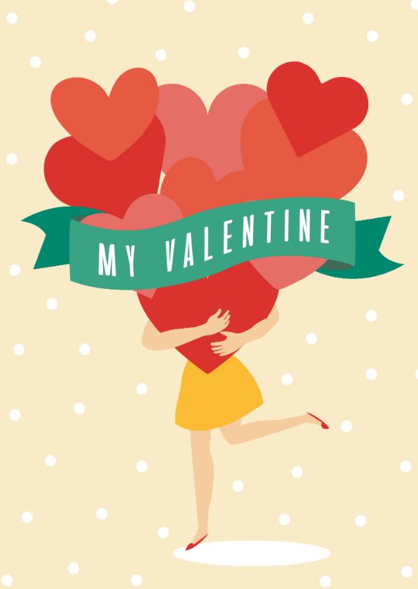 Valentijnskaarten - Valentijnskaartje met hartjes en stipjes