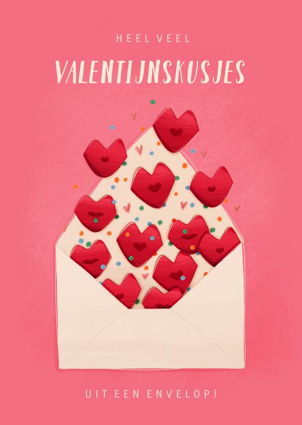 Valentijnskaarten - Valentijnskaartje valentijnskusjes uit een envelop