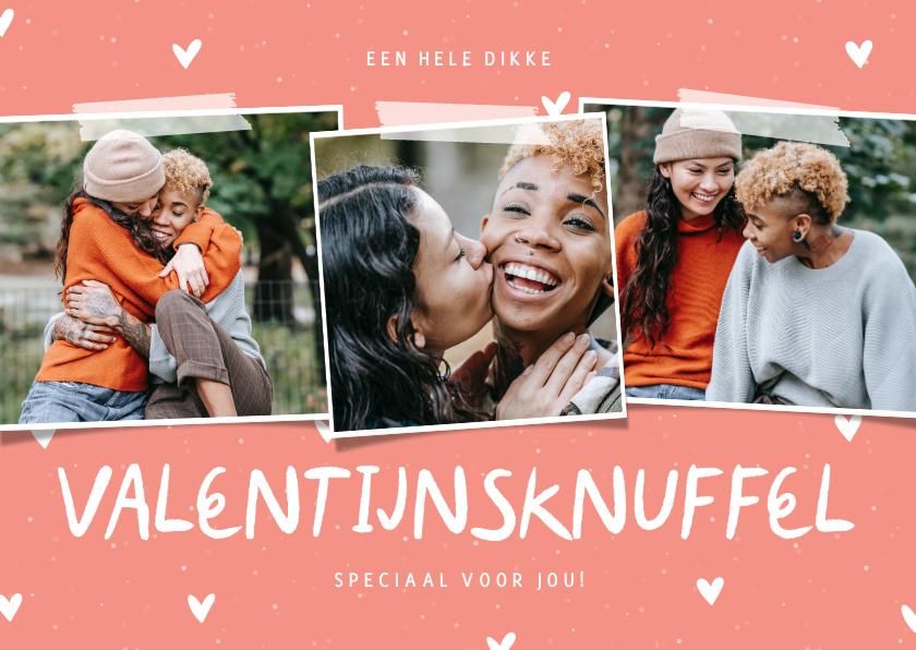 Valentijnskaarten - Valentijnsknuffel fotocollage met hartjes aanpasbaar