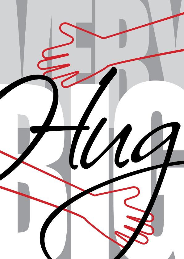 Valentijnskaarten - VERY BIG Hug red embrace