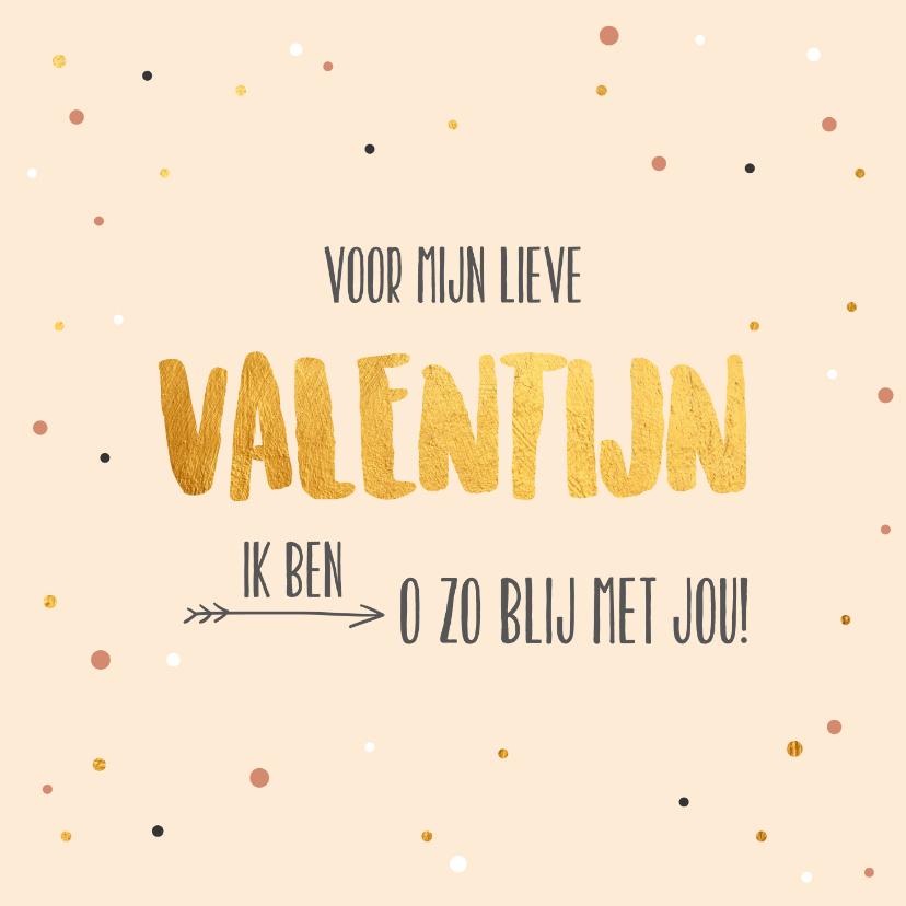 Valentijnskaarten - Voor mijn Valentijn - gold and dots - Valentijnskaart