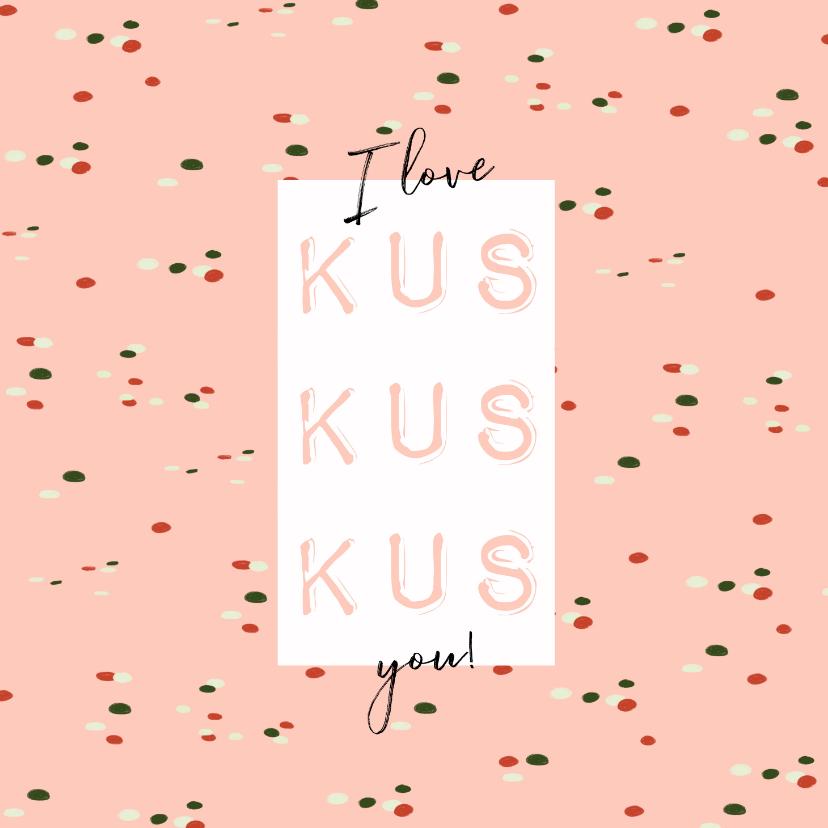 Valentijnskaarten - Vrolijke valentijnskaart 3 kussen i love you en confetti