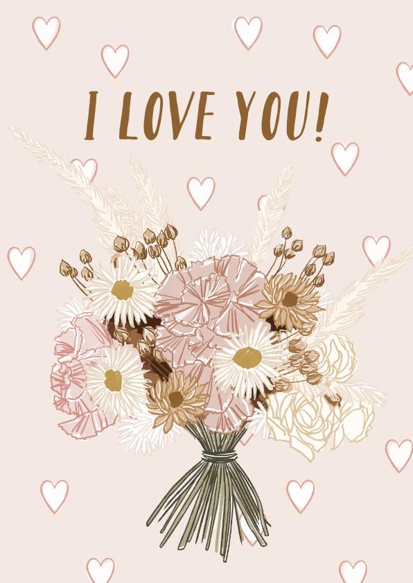 Valentijnskaarten - Vrolijke valentijnskaart met geïllustreerd boeket en hartjes