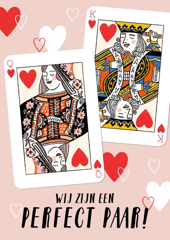 Valentijnskaarten - Vrolijke valentijnskaart met hartenkoning en hartenkoningin