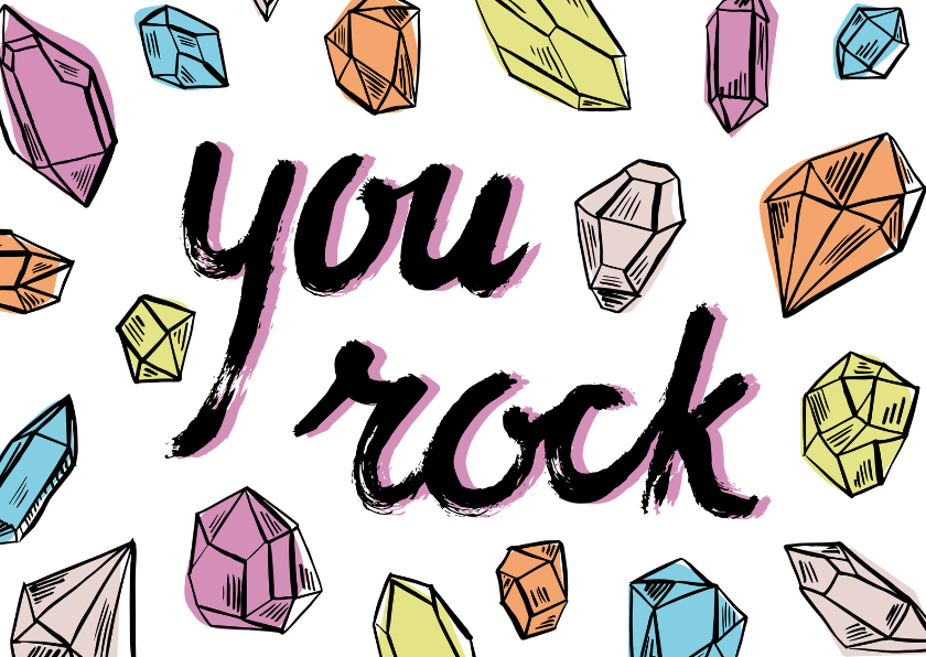 Valentijnskaarten - You rock - diamanten