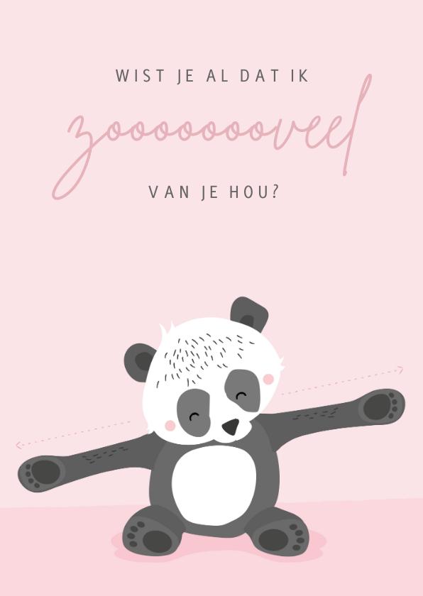 Valentijnskaarten - Zachtroze valentijnskaart met illustratie van een panda
