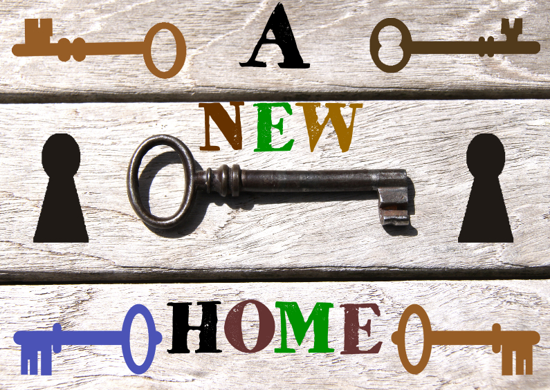 Verhuiskaarten - A new home met hout en sleutels