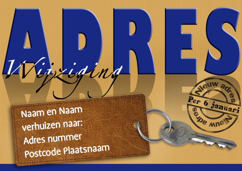 Verhuiskaarten - Adreswijziging kaart met sleutel en blauwe tekst: ADRES