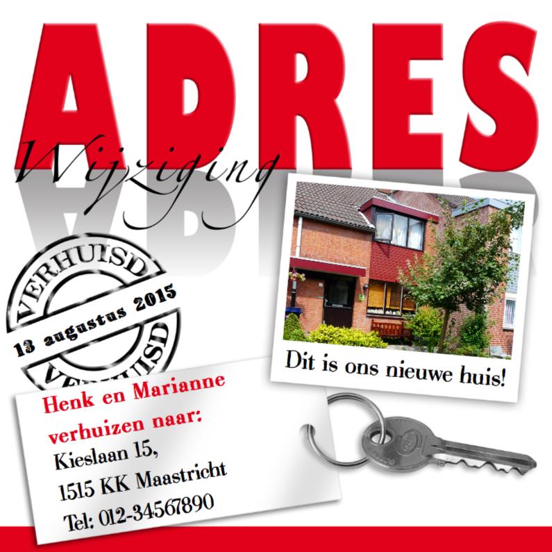 Verhuiskaarten - Adreswijziging met foto sleutel