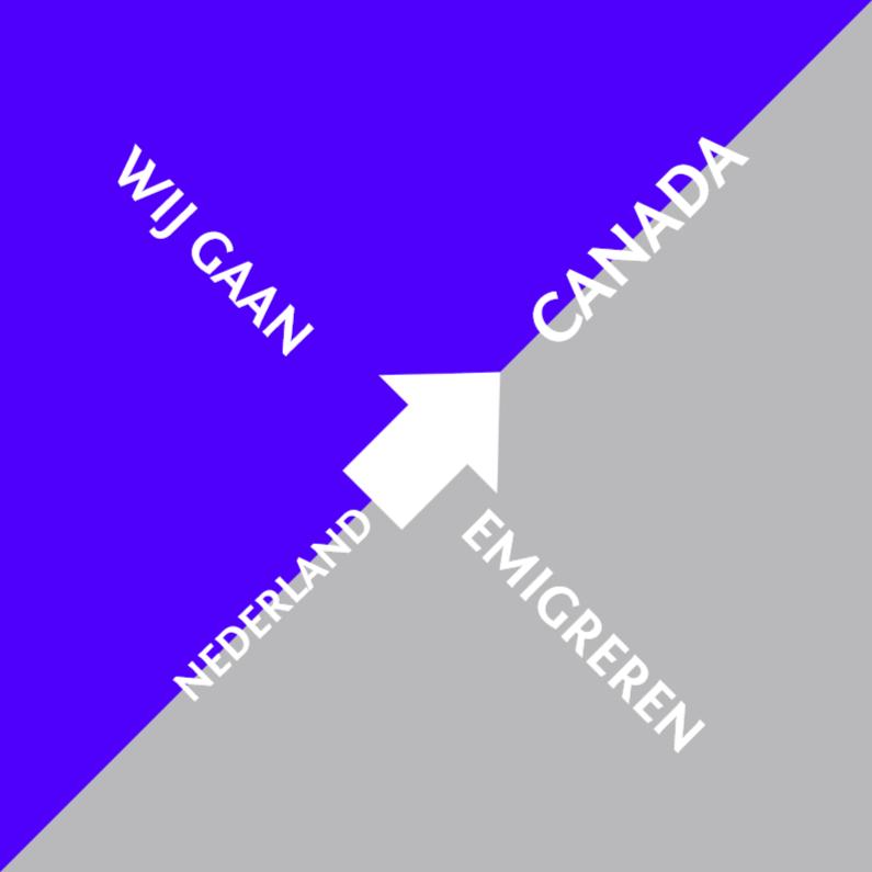 Verhuiskaarten - Emigratie blauw zilver