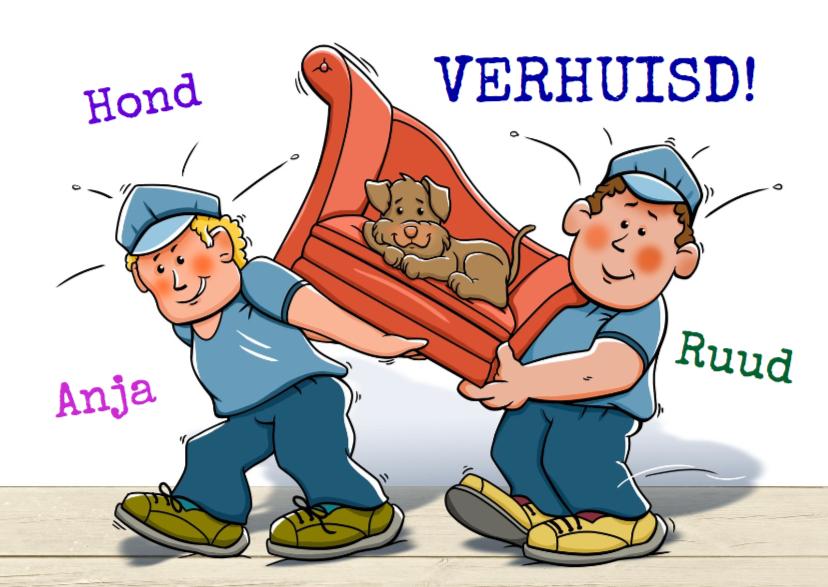 Verhuiskaarten - Grappige verhuiskaart met hond op bankje