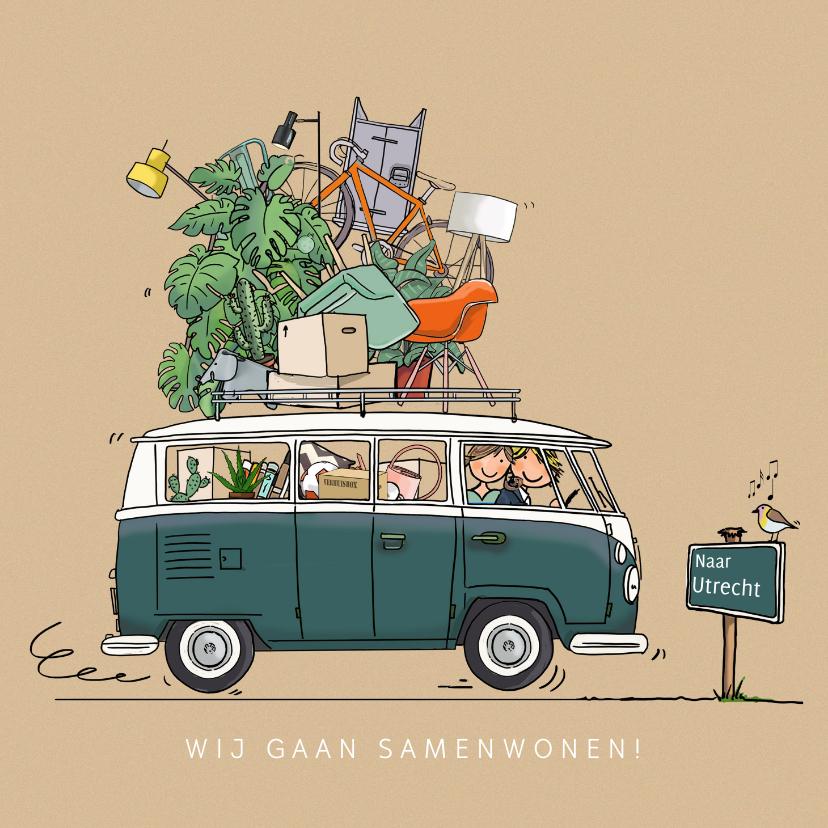 Verhuiskaarten - Grappige VW bus met plaatsbord