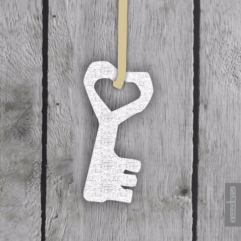 Verhuiskaarten - Hangende hartsleutel houtprint