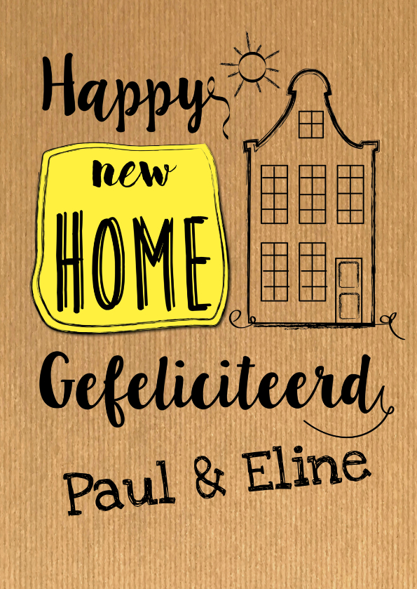 Verhuiskaarten - Happy new home op krafpapier-ByF