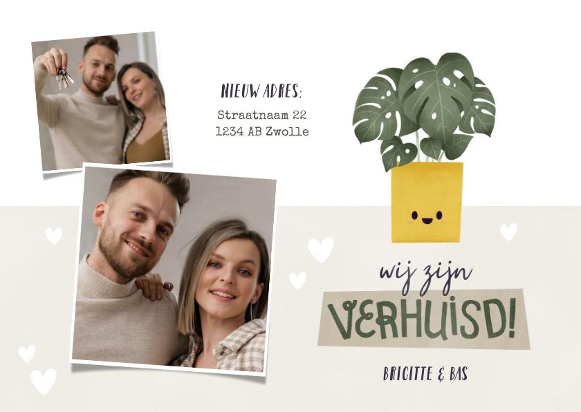 Verhuiskaarten - Hippe verhuiskaart met foto's, plantje en hartjes