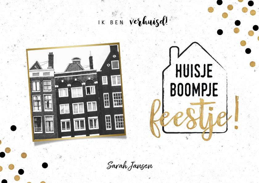 Verhuiskaarten - Hippe verhuiskaart met huisje boompje feestje en foto