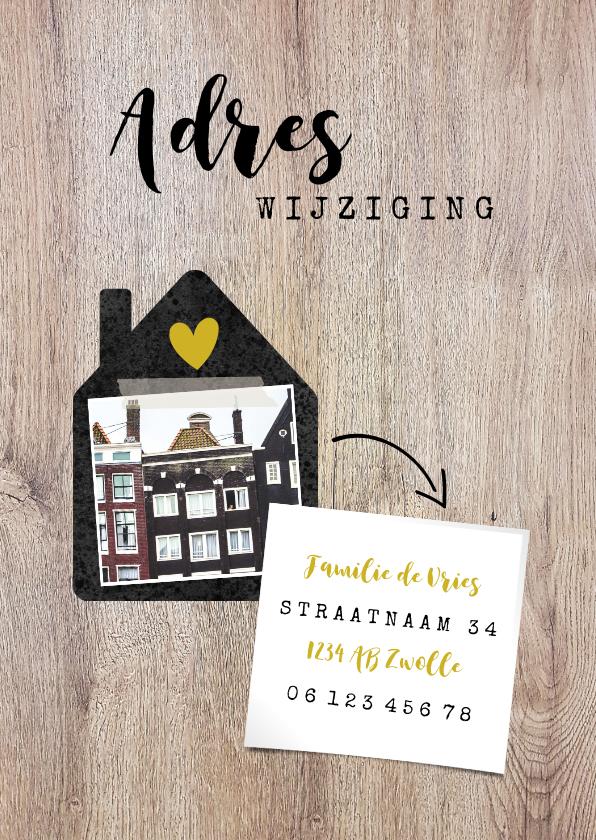 Verhuiskaarten - Hippe verhuiskaart met huisje, foto, typografie en adres