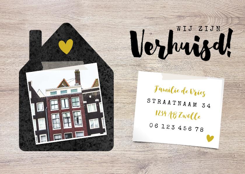 Verhuiskaarten - Hippe verhuiskaart met huisje, foto's en hout