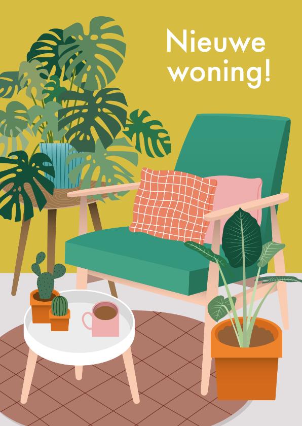 Verhuiskaarten - Hippe verhuiskaart met planten en stoel