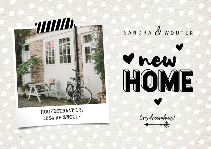 Verhuiskaarten - Hippe verhuiskaart new home met kraft, hartjes en foto