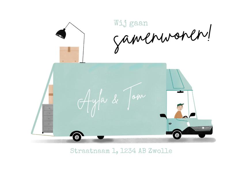 Verhuiskaarten - Hippe verhuiskaart wij gaan samenwonen verhuisbus
