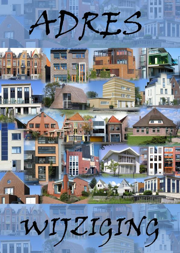 Verhuiskaarten - Huizen collage Adres wijziging