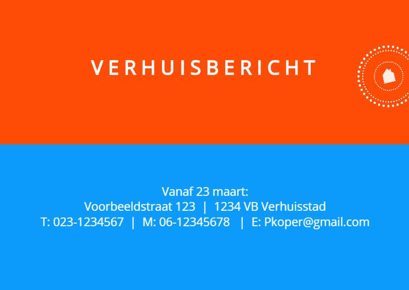Verhuiskaarten - Kleuren eigen tekst en stempel