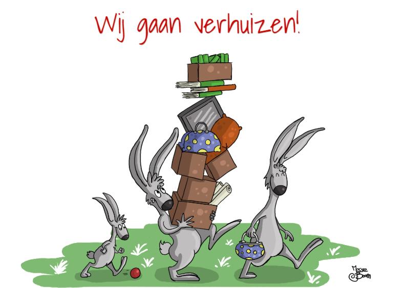 Verhuiskaarten - konijnen verhuizen