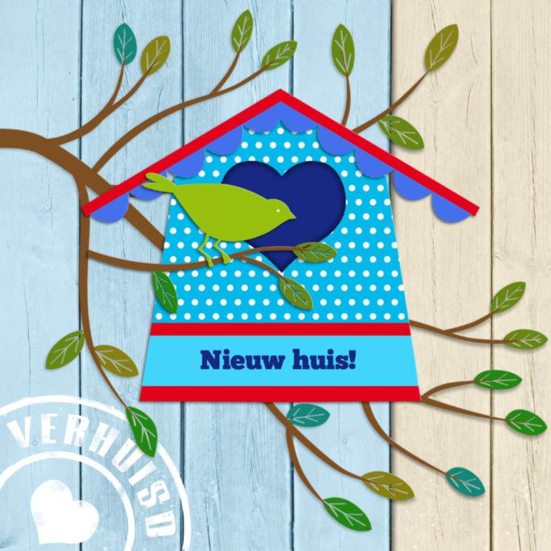 Verhuiskaarten - Leuk verhuisbericht met vogelhuisje en vogel