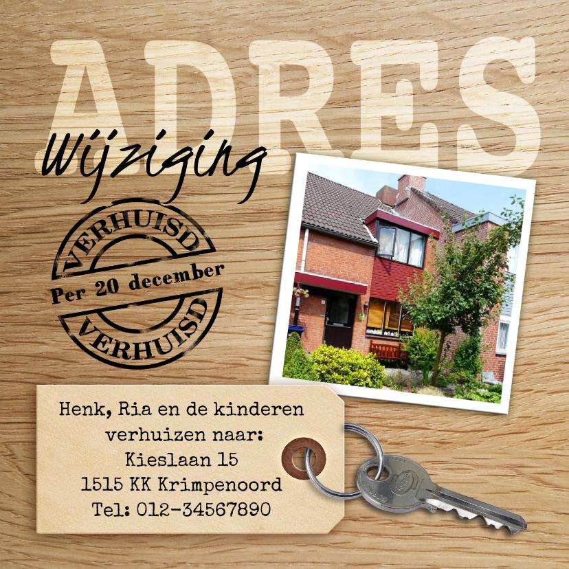Verhuiskaarten - Leuke adreswijziging met sleutel, hout en eigen foto