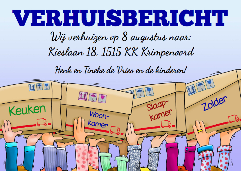 Verhuiskaarten - Leuke verhuiskaart met handen die verhuisdozen dragen