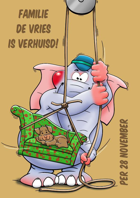 Verhuiskaarten - Leuke verhuiskaart met olifant en hondje op de bank