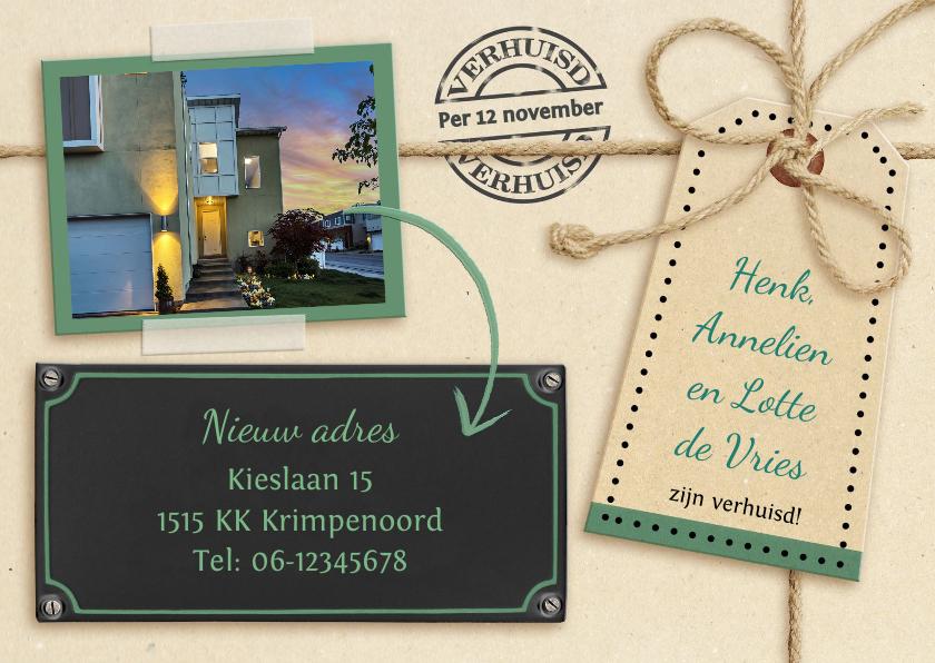 Verhuiskaarten - Leuke verhuiskaart met touw op karton en eigen foto