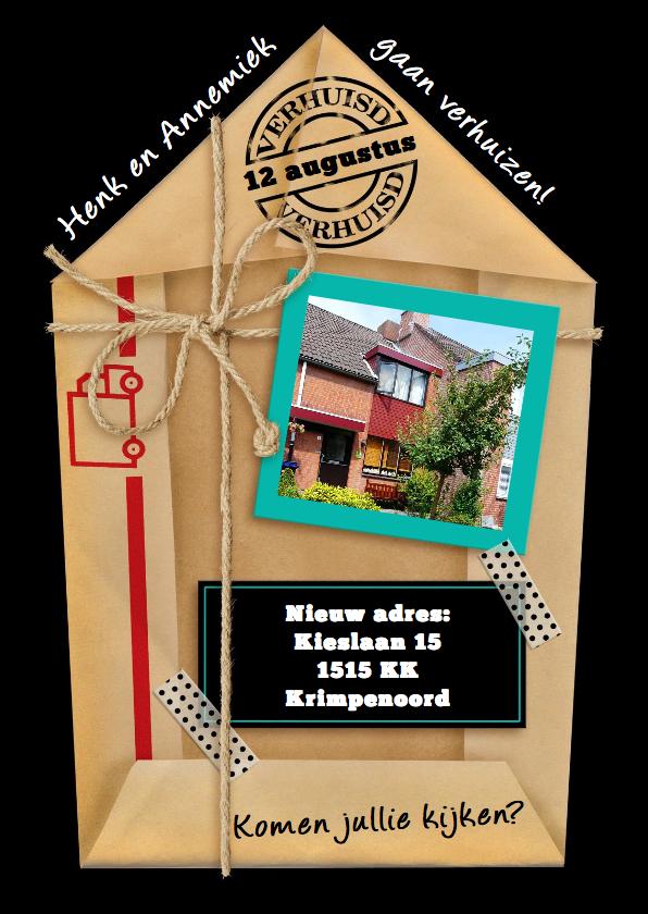 Verhuiskaarten - Leuke verhuiskaart van gevouwen pakpapier met eigen foto