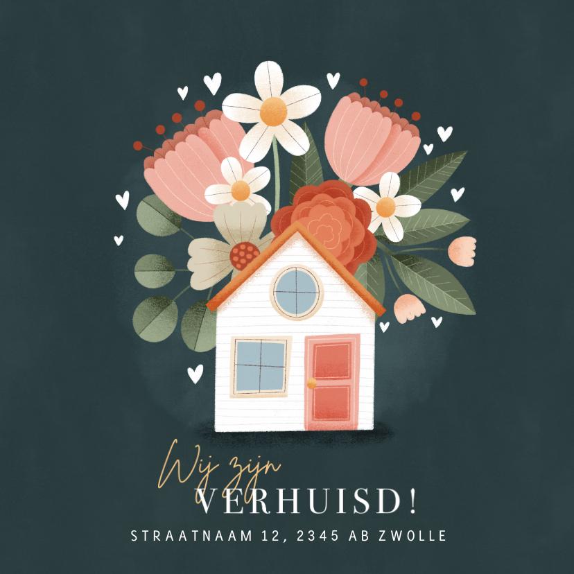 Verhuiskaarten - Moderne verhuiskaart planten, bloemen, hartjes en huisje