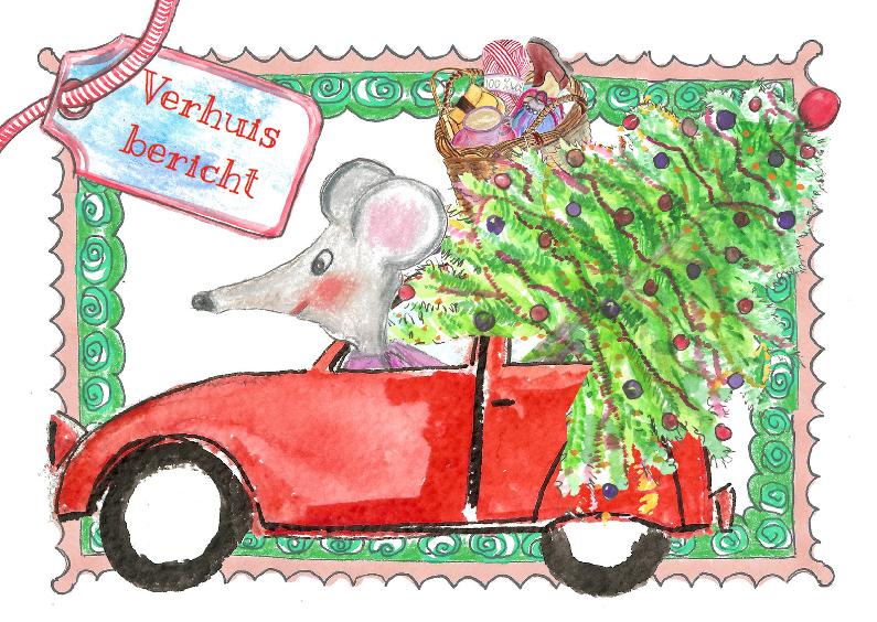 Verhuiskaarten - Muis en kerstboom verhuisbericht