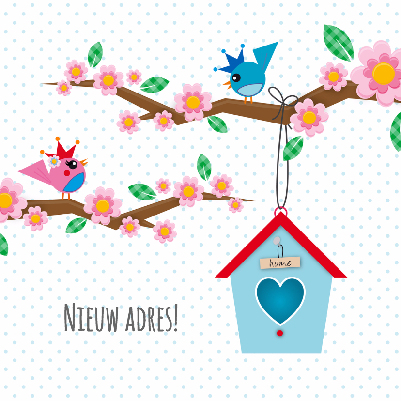 Verhuiskaarten - Nieuw adres vogelhuisje wit