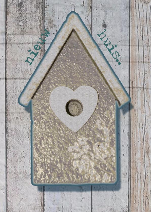 Verhuiskaarten - nieuw huis-hout