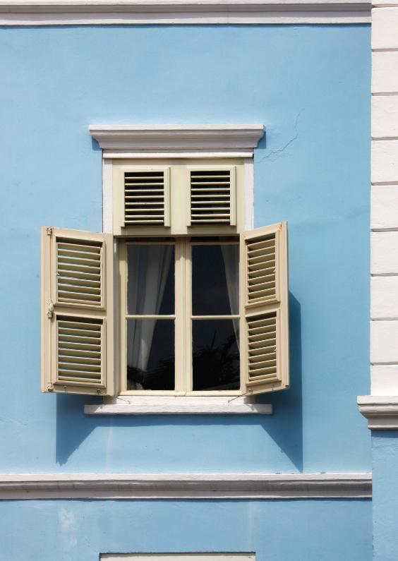 Verhuiskaarten - Raam tafereel in blauw huis - OT