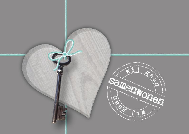 Verhuiskaarten - Samenwonen hart sleutel stempel