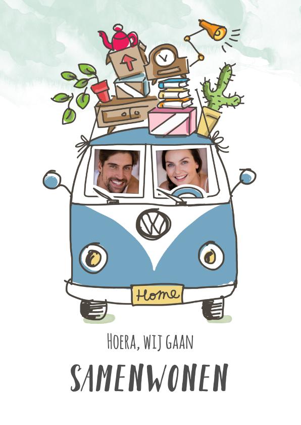 Verhuiskaarten - Samenwoonkaart met stel in Volkswagenbusje