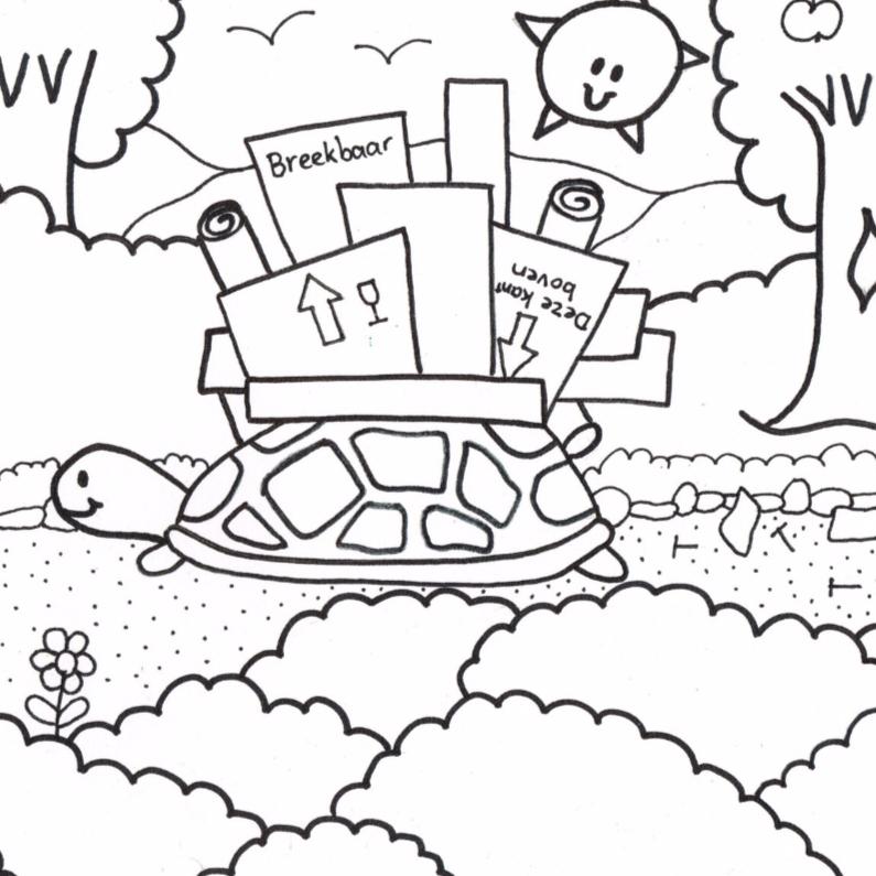 Verhuiskaarten - Schildpad gaat verhuizen kleurkaart