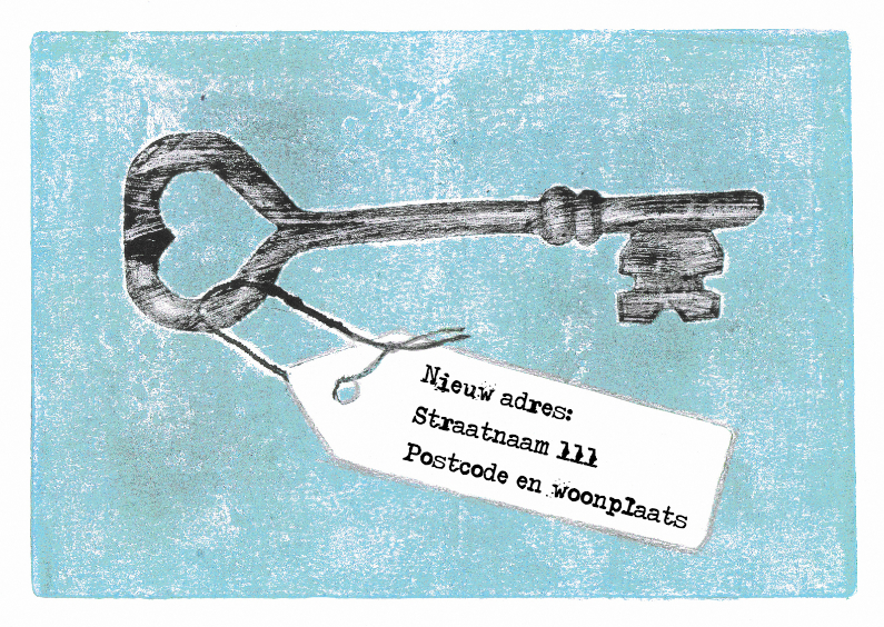 Verhuiskaarten - Sleutel met adreskaartje blauw