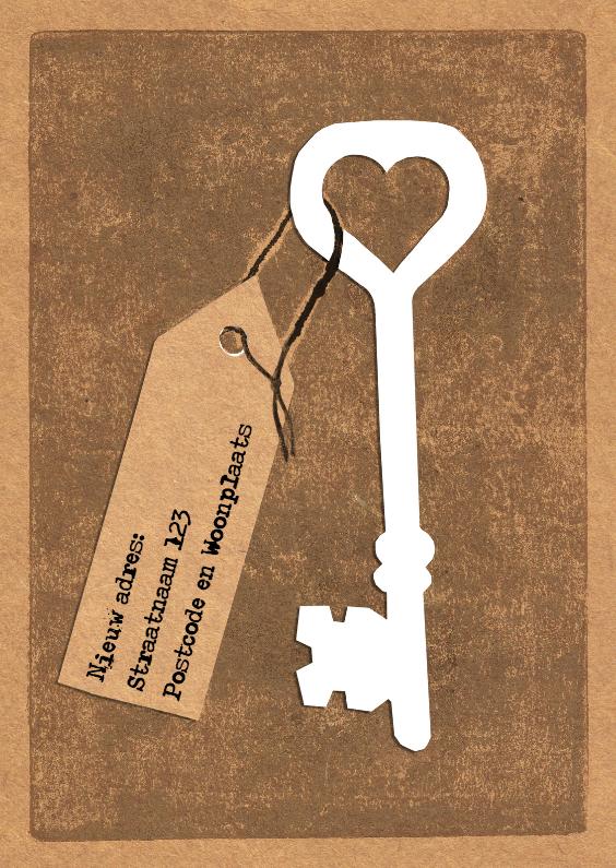 Verhuiskaarten - Sleutel met kaartje bruin karton