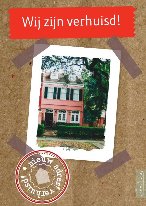 Verhuiskaarten - Tekst foto of adres stempel karton - rh