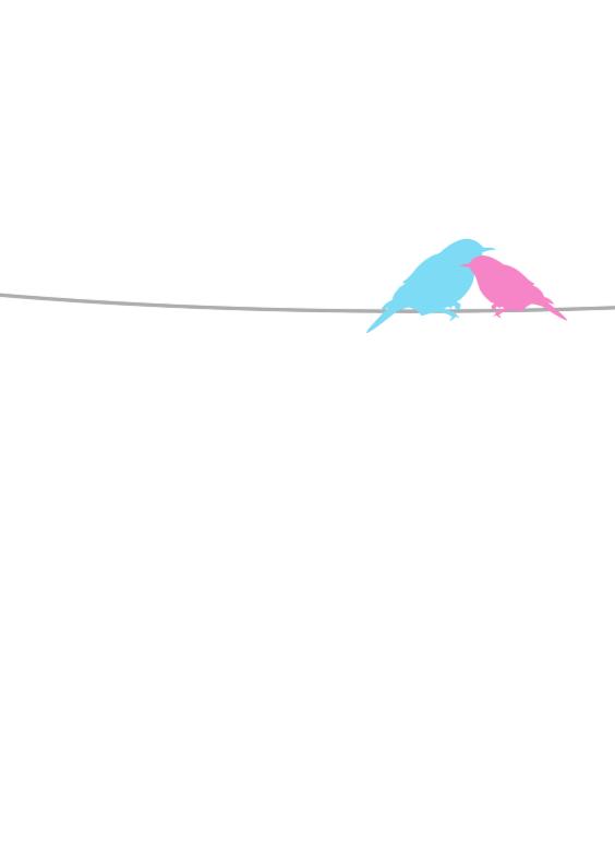 Samenwonen kaarten - twee vogeltjes op een lijn