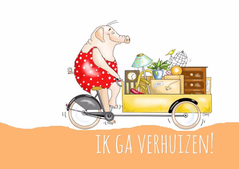 Varkentje op bakfiets verhuist verhuiskaarten kaartje2go for Ik ga verhuizen